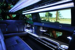 Luxury white Limousine interior